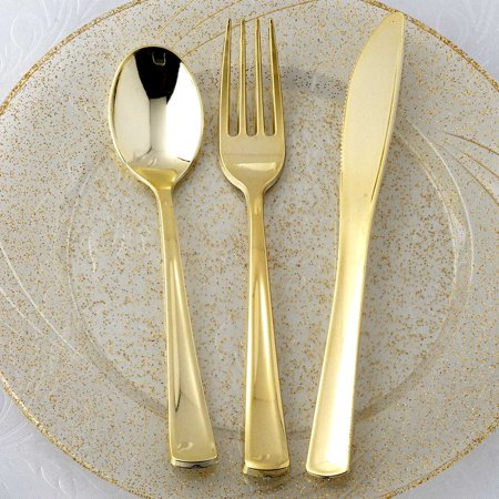 Forks And Spoons (BalsaCircle 8 sets Metallic Gold Spoons, Forks, and Knives - Wedding Reception Party Buffet Catering Tableware Food)