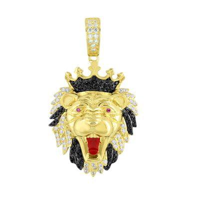 Lion King Face Pendant Gold On 925 Silver Amethsyt Ruby Eyes Swarovski - Gold Ruby Eyes