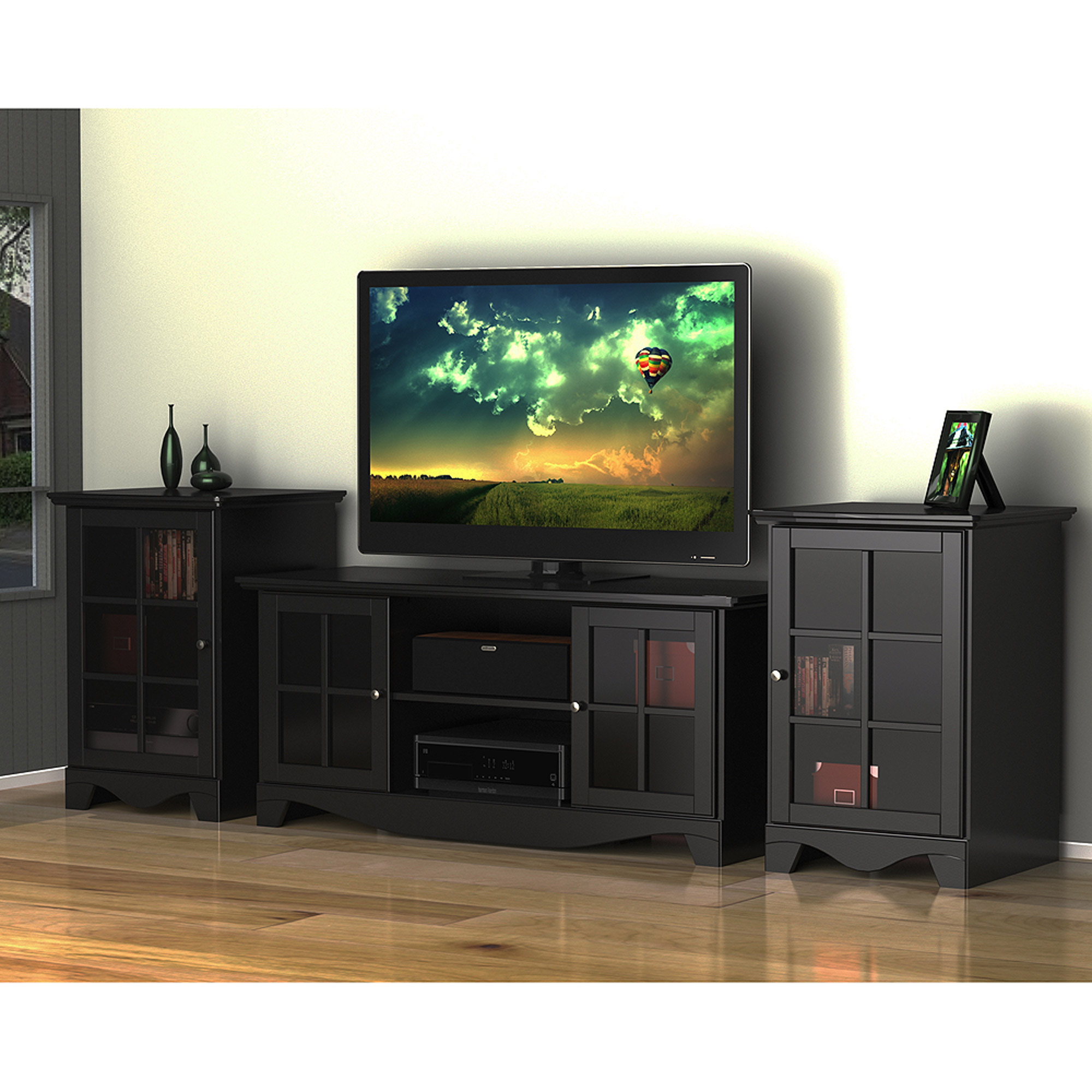 Pinnacle Center Channel Black Tv Stand For Tvs Up To 60 Walmart Com