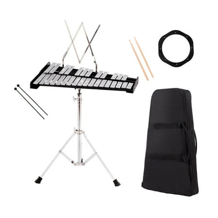 Percussion Kit - Costway Percussion Glockenspiel Bell Kit 30 Notes w/ Practice Pad +Mallets+Sticks+Stand