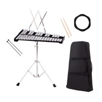 Costway Percussion Glockenspiel Bell Kit 30 Notes w/ Practice Pad +Mallets+Sticks+Stand