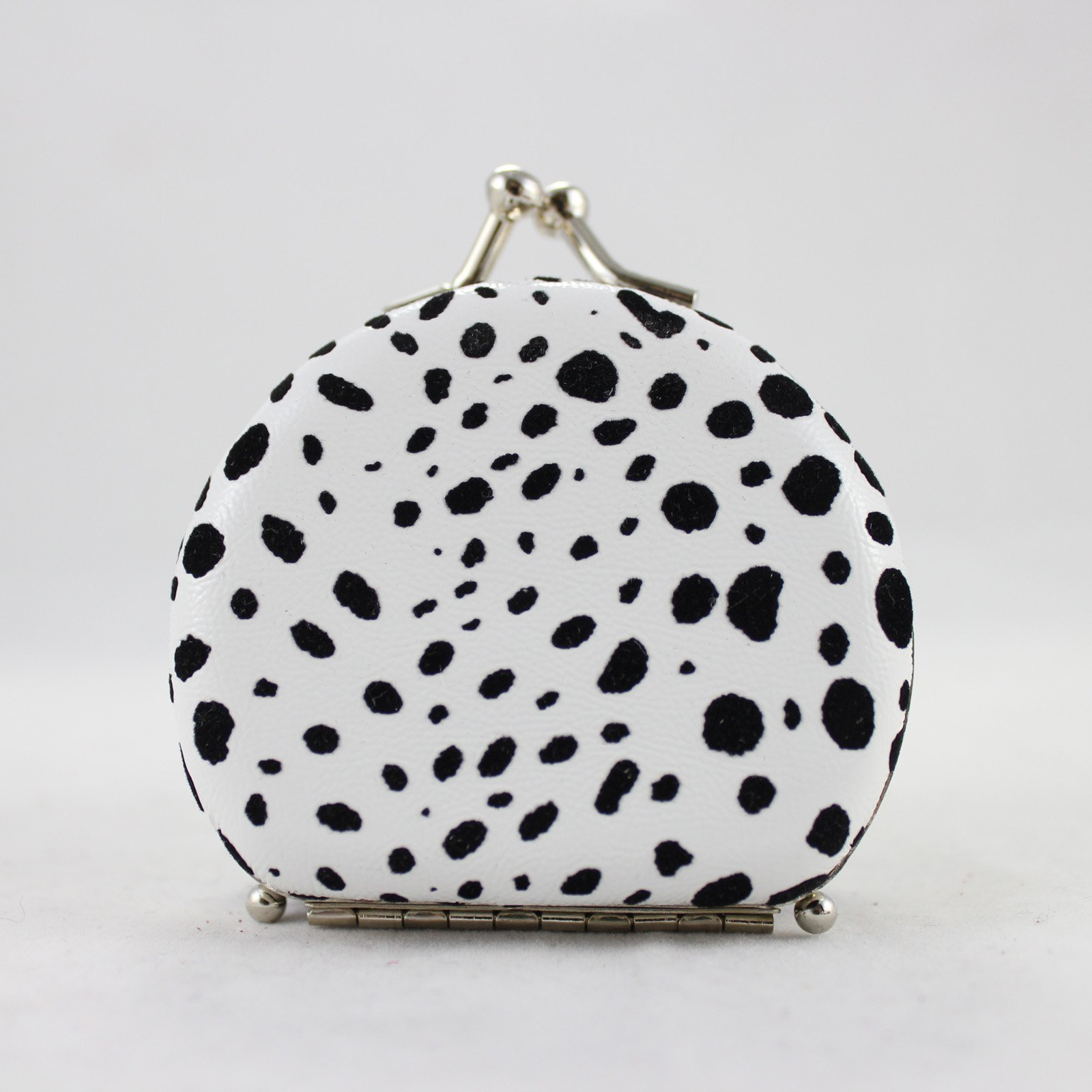 Round Leopard Print Jewelry Travel Case - White - 2.6L x 2.2W in.