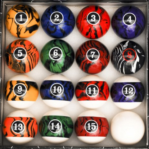 Dark Color Marble Swirl Style Pool Ball Set Billiards Regulation Size and Weight