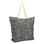 DALIX Washed Pigment Dyed Canvas Tote Bag w/ Snap Button and Cotton Handle in Black