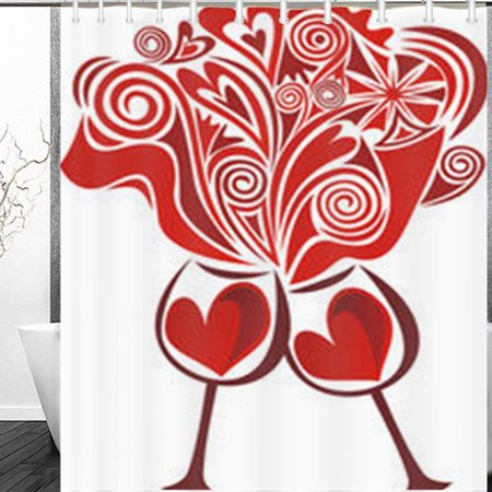 ARTJIA Wine Glasses Valentines Day Love Romantic Food Drink Bottle Holidays Heart Shower Curtain 60x72 Inches (Valentine Drinks)