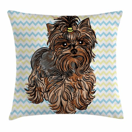 Yorkie Throw Pillow Cushion Cover, Cute Brown Yorkie with Even Cuter Buckle on its Head Drawing on Chevron Backdrop, Decorative Square Accent Pillow Case, 16 X 16 Inches, Chesnut Brown, by (Square Covered Buckle)