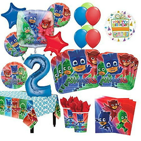 PJ Masks 2nd Birthday Party Supplies 16 Guest Kit and Balloon Bouquet Decorations 96pc - Prehistoric Party Supplies