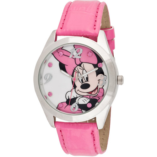 Disney Women's Minnie Mouse Pink Watch, Iced Croco Strap