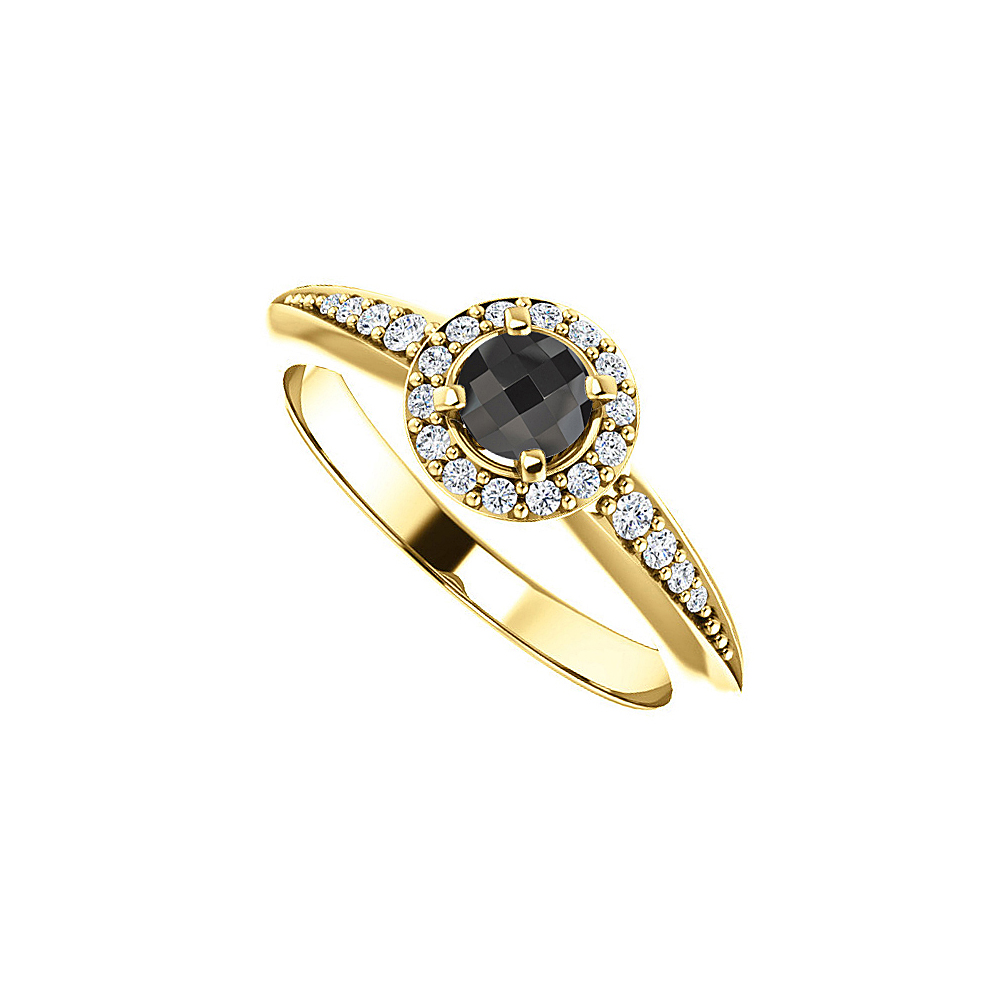 Black Onyx and CZ Halo Style Ring in 14K Yellow Gold - image 2 of 2