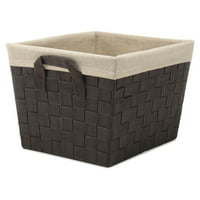 "Whitmor Woven Strap Storage Tote Basket - Espresso with Cream Liner - 13"" x 15"" x 10"""