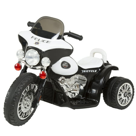 Ride on Toy, 3 Wheel Mini Motorcycle Trike for Kids, Battery Powered Toy by Hey! Play! –Toys for Boys and Girls, 2 - 5 Year Old - Police