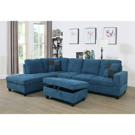 Vernes Linen Sectional Sofa With Ottoman In Blue Walmart Com