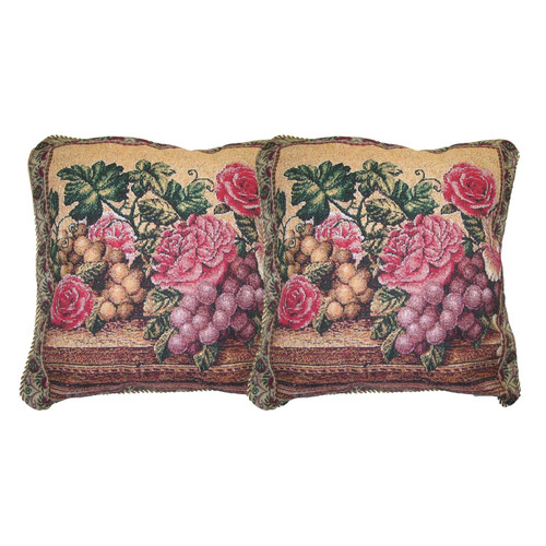 DaDa Bedding Parade of Fruit and Rose Woven Pillow Cover (Set of 2)