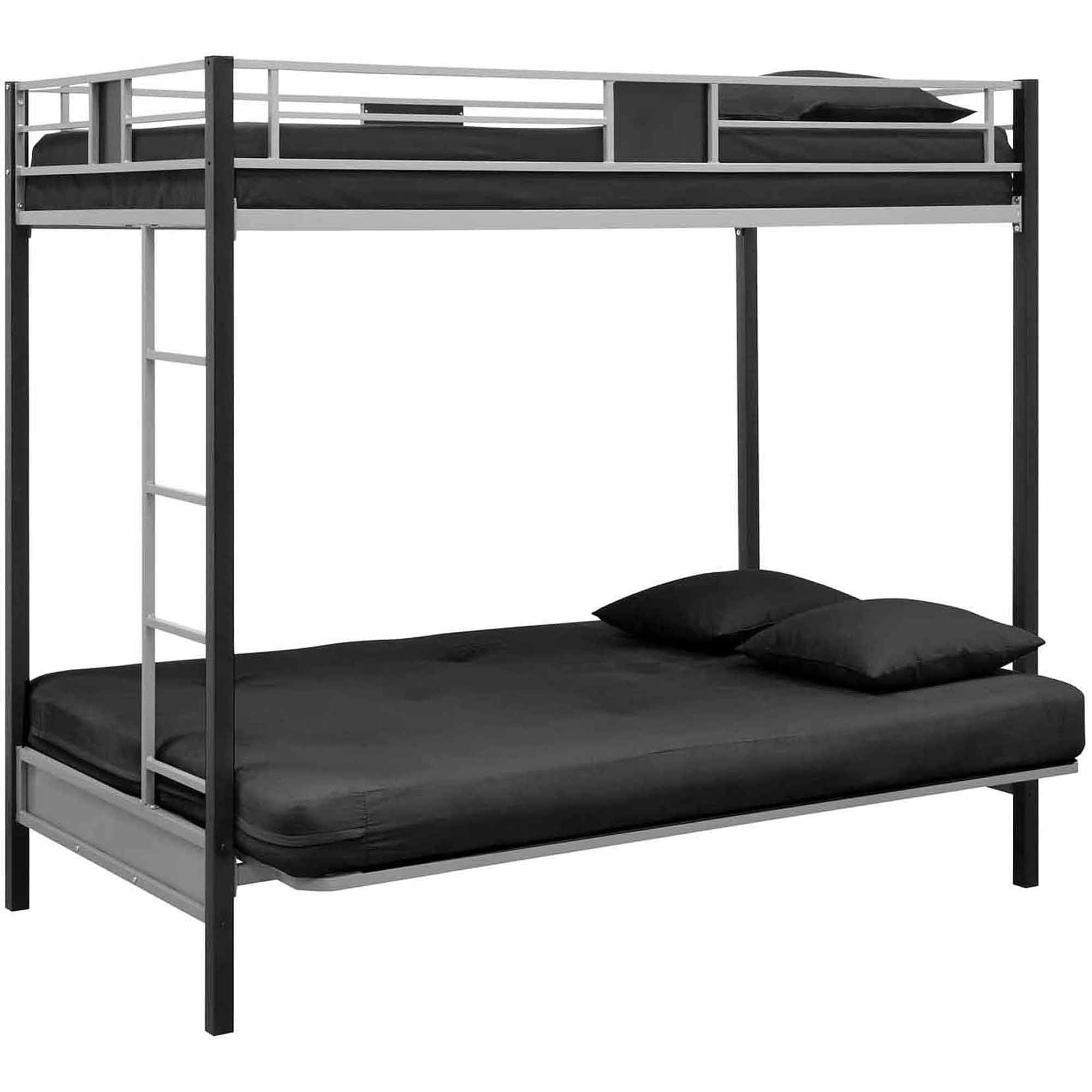 Dhp Silver Screen Twin Over Futon Metal Bunk Bed Silver Black