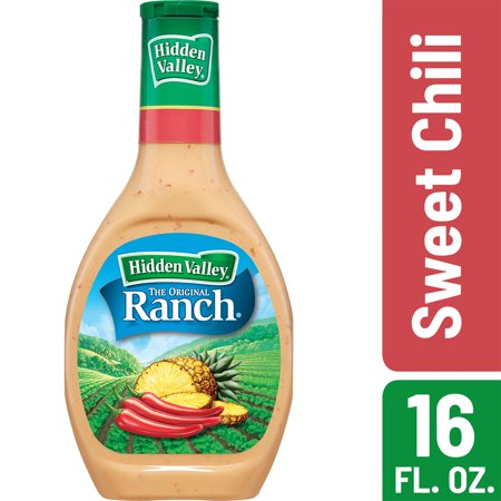 Sweet Toppings ((2 Pack) Hidden Valley Sweet Chill Ranch Salad Dressing & Topping, Gluten Free - 16 Oz Bottle )