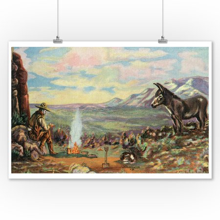Western Scene - Cowboy with Burro by Fireside Cooking (9x12 Art Print, Wall Decor Travel Poster)](Cowboy Wall Decor)