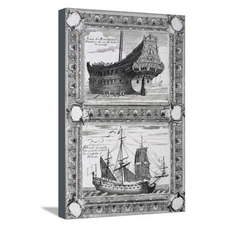 Merchant Ship and Dutch Ship, 17th Century Stretched Canvas Print Wall Art (Dutch Merchant Ships)