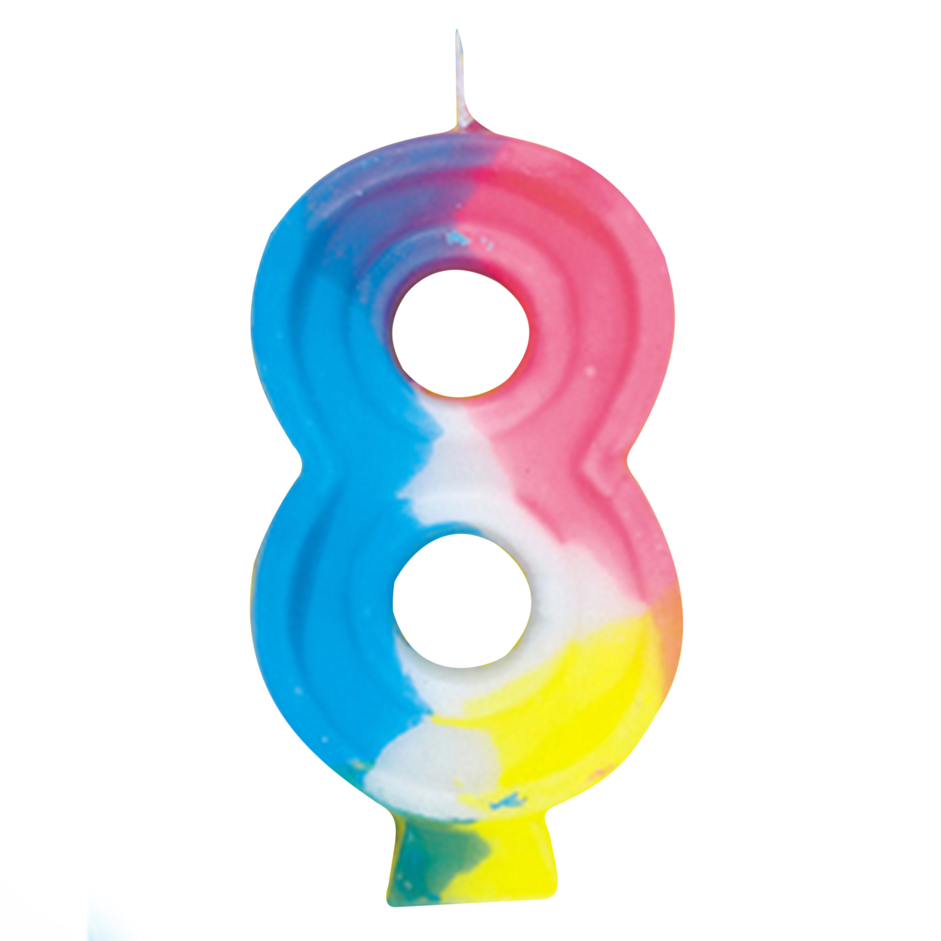 Number 8 Birthday Candle, 2.75 in, Multicolor, 1ct