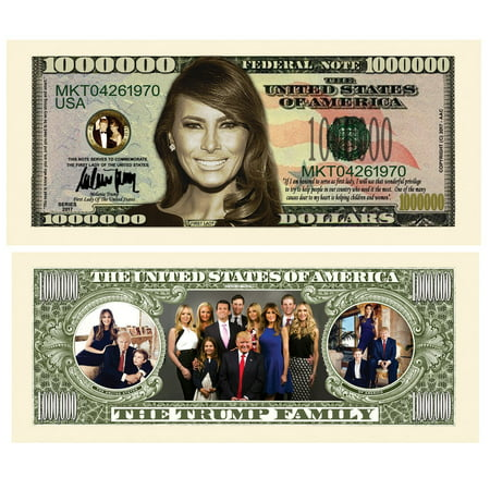 Million Dollar Currency (Melania Trump - First Lady - First Family Million Dollar Bill In Currency Holder, Special million dollar bill featuring melania trump on the front.., By American Art)