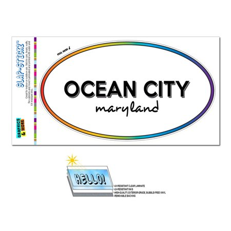 Ocean City, MD - Maryland - Rainbow - City State - Oval Laminated Sticker - Party City Salisbury Maryland