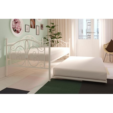 (DHP Bombay Metal Daybed in Multiple Sizes with Twin Trundle, Multiple Colors)