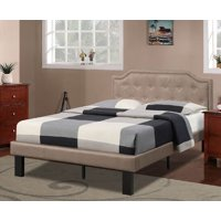 Poundex Bobkona Finely Polyfabric Upholstered Twin Size Bed in Tan