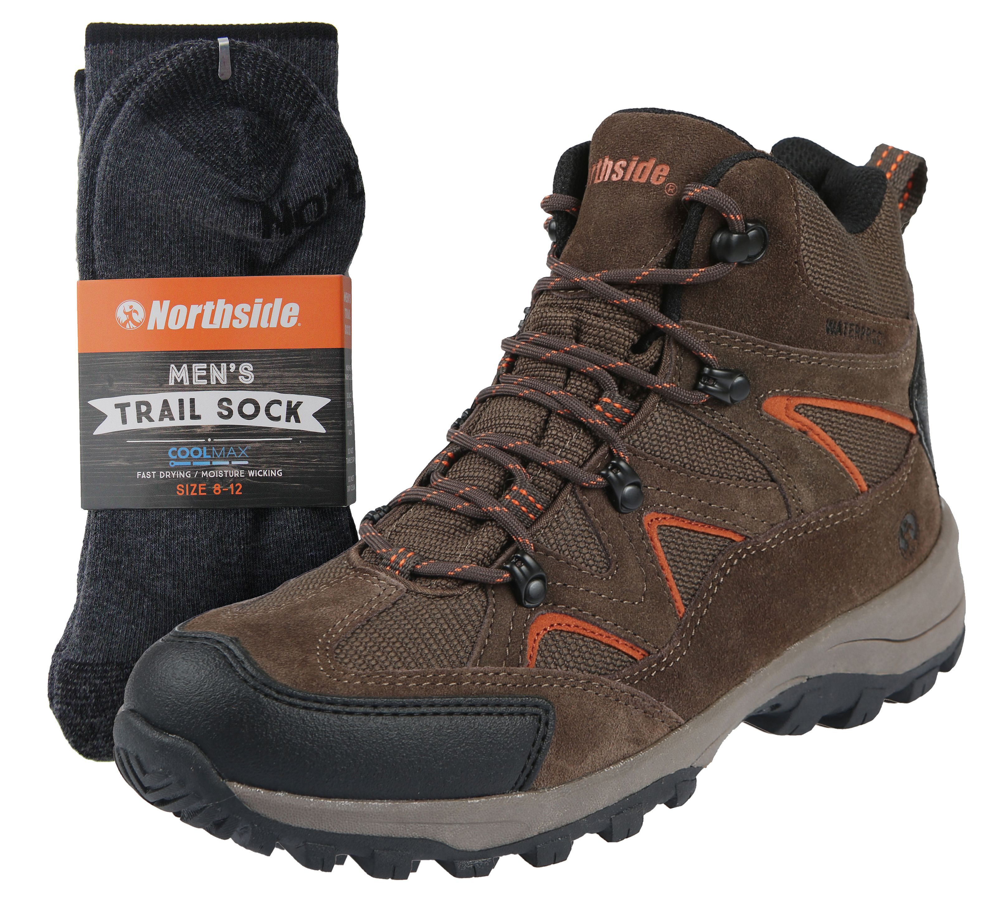 Northside Mens Snohomish Leather Waterproof Mid Hiking Boot and Trail Sock Combo
