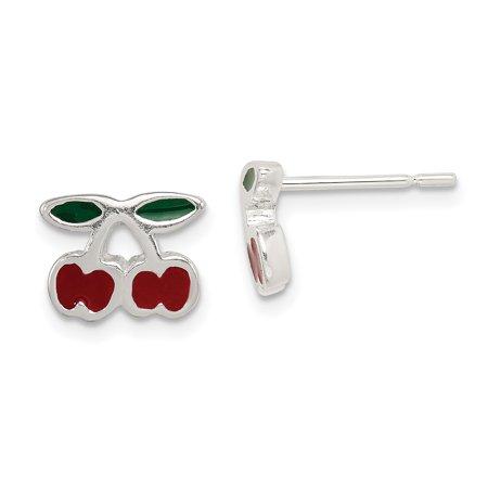 925 Sterling Silver Enamel Cherries Post Stud Earrings Food Drink Silver Enamel Earrings