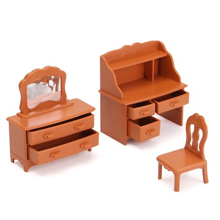 1:12 Wood Toy Family Dollhouse Furniture Miniatures Dresser Desk Coat Hanger Chair Set