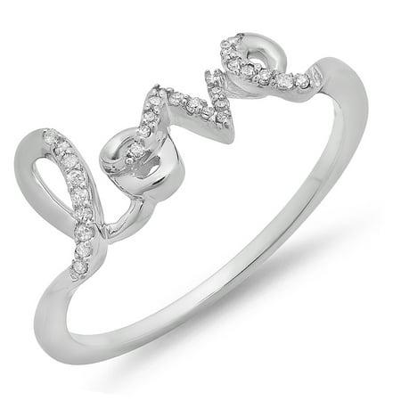 Dazzlingrock Collection 0.08 Carat (ctw) 10K Round White Diamond Ladies Promise Love Engagement Ring, White Gold, Size 7