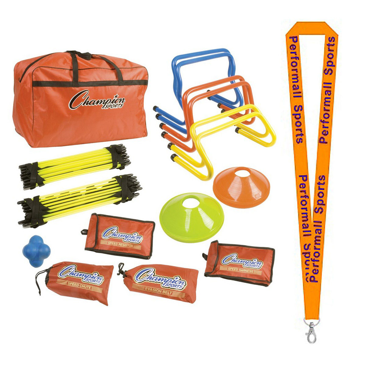 Champion Sports Bundle: Speed Agility Kit Assorted with 1 Performall Lanyard SAGKIT-1P