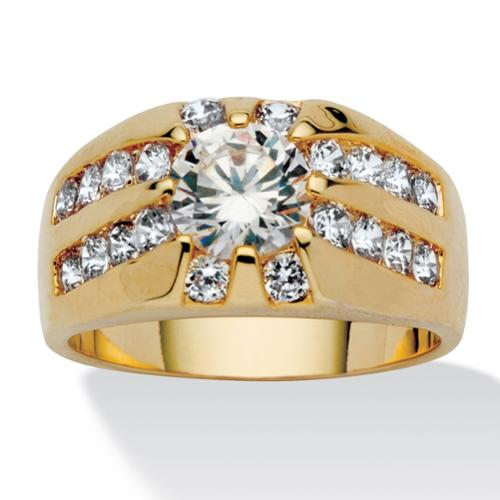 Men's 2.95 TCW Round Cubic Zirconia RIng in Gold Tone Sizes 9-16 - Size 13