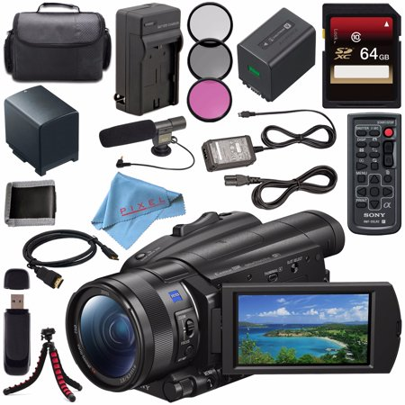 Sony FDR-AX700 4K Camcorder FDR-AX700/B + NP-FV70 Replacement Lithium Ion Battery + External Rapid Charger + Sony 64GB SDXC Card + 62mm 3 Piece Filter Kit + Carrying Case + Condenser Mic Bundle (Video Camera 4k Sony)