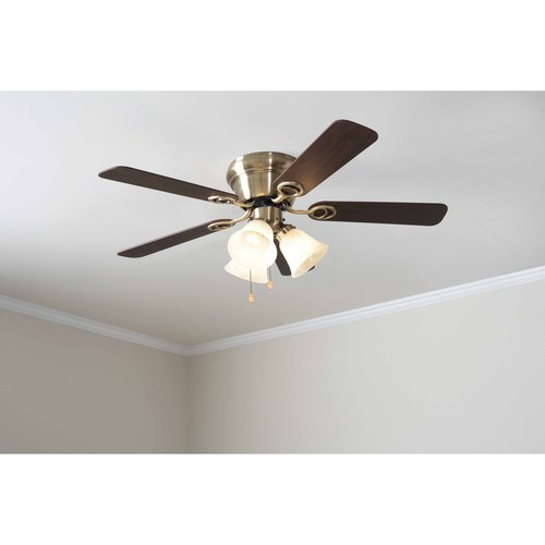 "Mainstays 42"" Ceiling Fan with Light Kit, Antique Brass  17817"