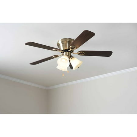 Mainstays 42 Ceiling Fan With Light Kit Antique Brass