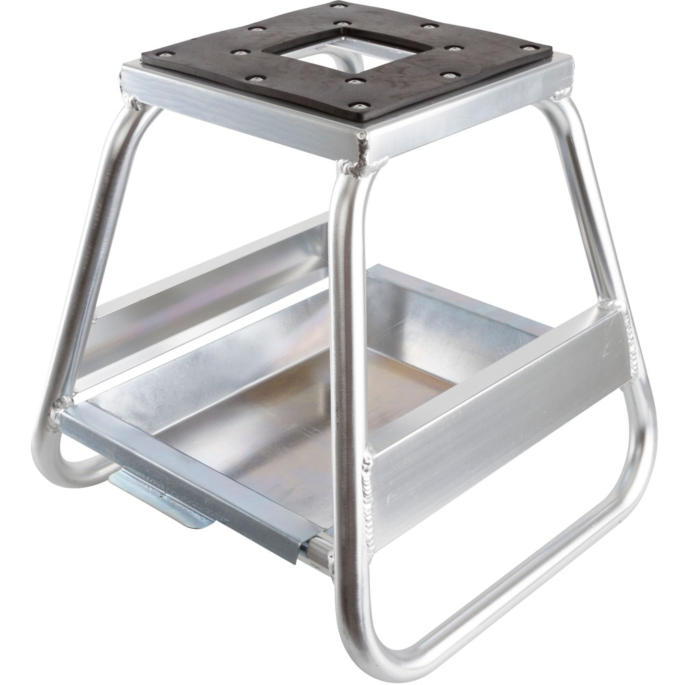 Polished Aluminum Dirt Bike Stand with Removable Oil Pan