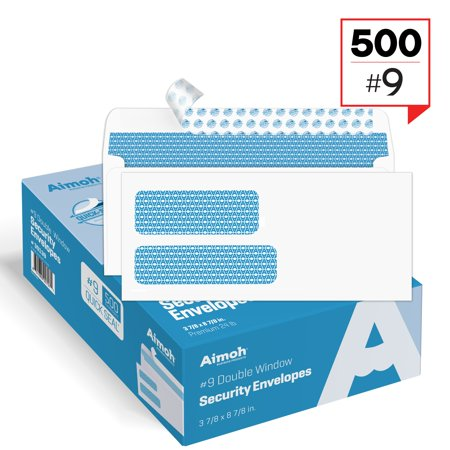 #9 Double Window Security Tinted Self‐Seal Envelopes - 3‐7/8 x 8‐7/8 - 500 count - Personalized Envelope Seals