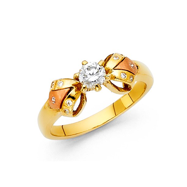 14K Two Tone Solid Gold Round Cut Solitaire CZ Ribbon Bow Ring - size 5.5