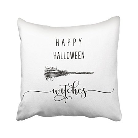 Simple Halloween Witch Drawing (WinHome Vintage Happy Halloween Witch Broom Pencil Drawing Pattern Polyester 18 x 18 Inch Square Throw Pillow Covers With Hidden Zipper Home Sofa Cushion Decorative)
