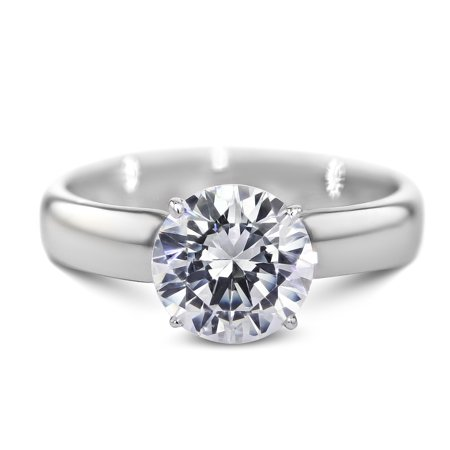 14K White Gold Diamond Engagement Ring Natural 1.09 Carat Round Brilliant E VS2