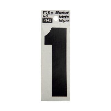"Hy-Ko 3"" Reflective Vinyl Self-Adhesive Sticker Number 1"