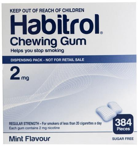 3 Pack - Habitrol Nicotine Gum 2mg Mint 384 Each Stop Smoking Aid