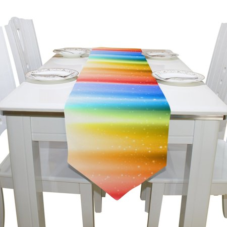 POPCreation Rainbow Table Runner Placemat 13x70 inches, Home Table Top Decoration Table Linens Cloth for Office Kitchen Dining Wedding Party](Rainbow Table Decorations)