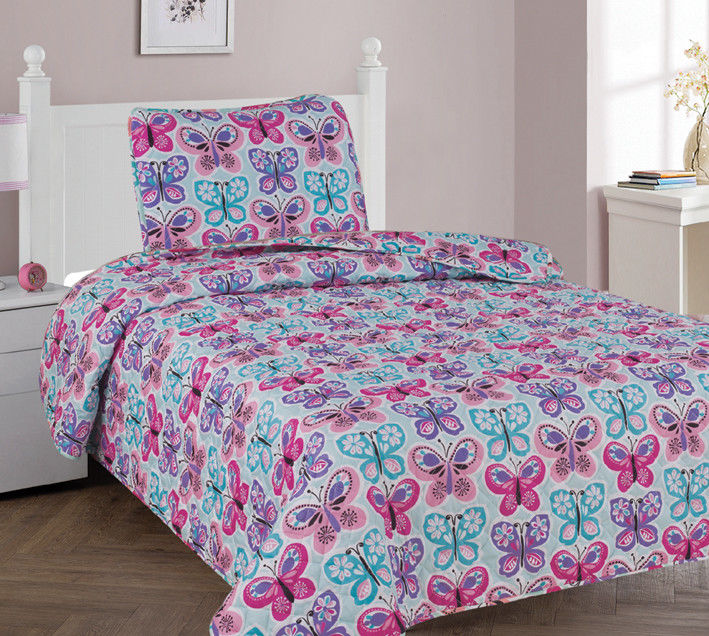2 PC TWIN BUTTERFLY BLUE Kids Microfiber Bedding Quilt Set, 1 Print Quilted  Coverlet