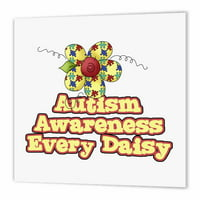3dRose Autism Awareness Every Daisy (Day) Awareness Ribbon Cause Design, Iron On Heat Transfer, 8 by 8-inch, For White Material