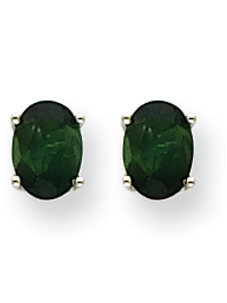 14k White Gold Post Earrings Green Tourmaline Earrings 1.58 cwt by Jewelryweb