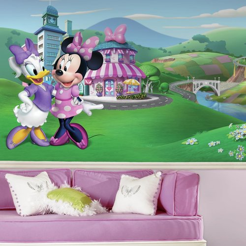 Minnie Mouse Happy Helpers XL Chair Rail Prepasted Mural 6' x 10.5' - Ultra-strippable