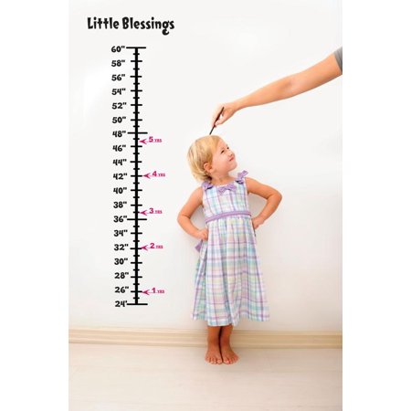 Little Cheap Charts (Baby Vinyl Growth Chart Decal Hanging Height Ruler Sticker For Children, Kids Room Wall Children's Nursery Décor Little Blessings 8 Inches X 40 Inches)