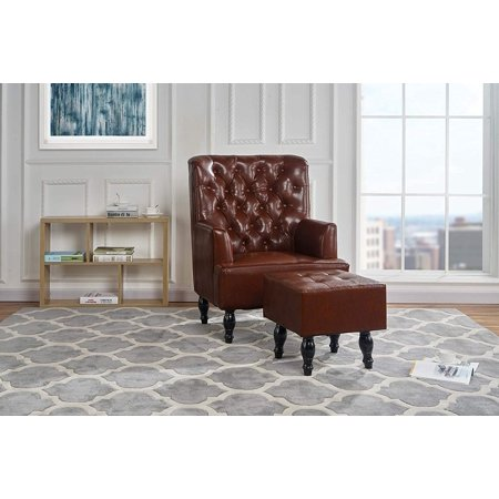 Remarkable Classic Living Room Tufted Pu Leather Armchair With Foot Rest Dark Brown Pabps2019 Chair Design Images Pabps2019Com