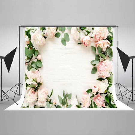 HelloDecor Polyster 7x5ft White Wooden Background surrounded by Pink Flower Backdrop Love Photography Studio Props